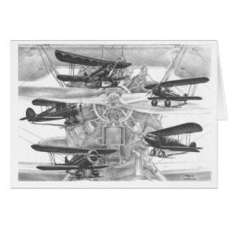 Dessin d'aviation de biplan de Waco par le cygne Cartes De Vœux