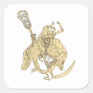Dessin de bâton de lacrosse de faucheuse sticker carré