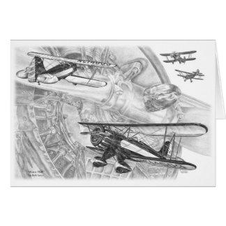 Dessin de biplan de Waco YMF par le cygne de Kelli Cartes De Vœux