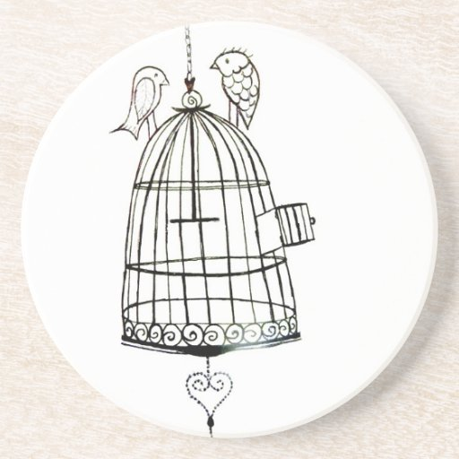 dessin de cage à oiseaux dessous de verre