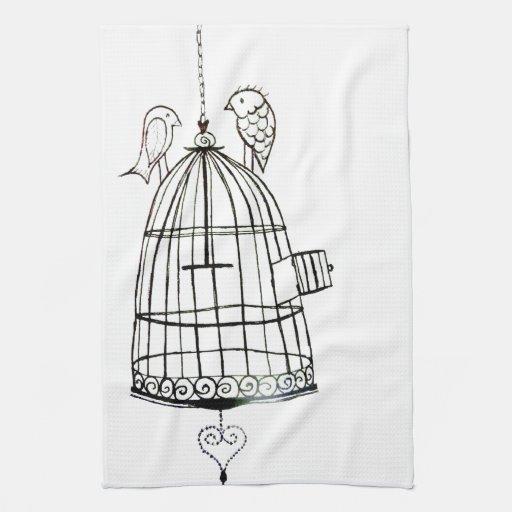 dessin de cage à oiseaux linges de cuisine