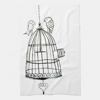 dessin de cage à oiseaux serviettes pour les mains