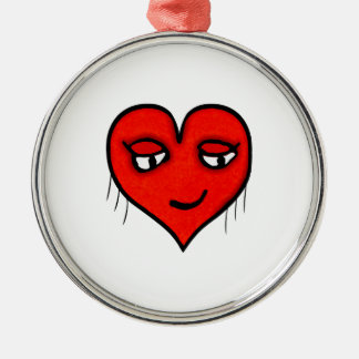 Dessin de caractère de coeur ornement rond argenté