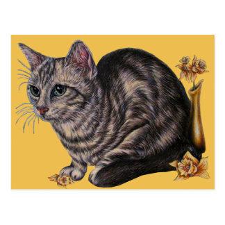 Dessin de chat avec des jonquilles sur la carte