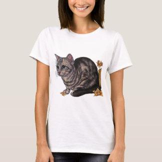 Dessin de chat avec des jonquilles t-shirt