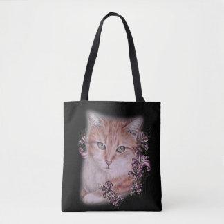 Dessin de chat tigré et de lis oranges sur le sac