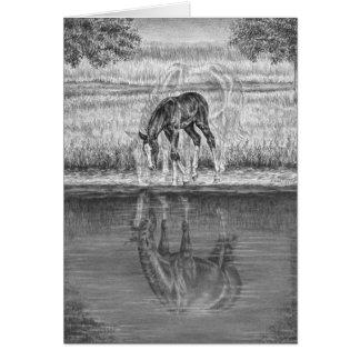 Dessin de cheval de jument et de poulain par le cartes