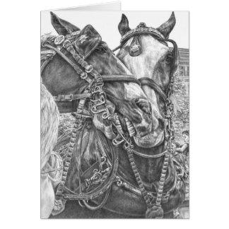 Dessin de cheval de trait de Clydesdale par le Carte De Vœux