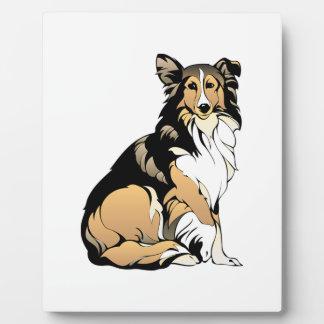 Dessin de chien de colley plaque photo