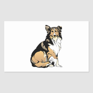 Dessin de chien de colley sticker rectangulaire