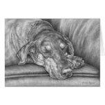 Dessin de chien de dobermann de sommeil par le cyg carte de vœux