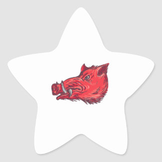 Dessin de côté de tête de balénoptère de sanglier sticker étoile
