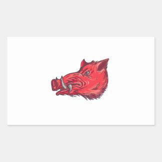 Dessin de côté de tête de balénoptère de sanglier sticker rectangulaire