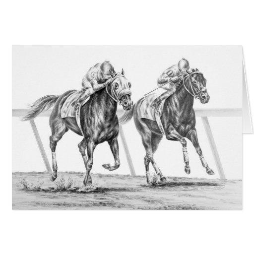 Dessin de course de cheval de pur sang par le cygn cartes - Dessin cheval de course ...