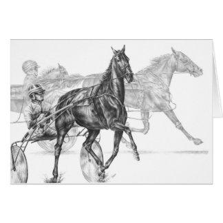 Dessin de course de chevaux de harnais par le carte de vœux