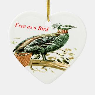 Dessin de faisan libre comme oiseau ornement cœur en céramique