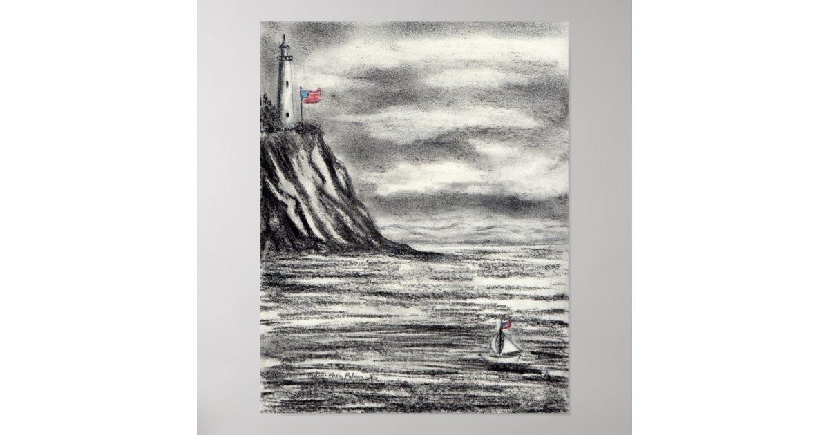 Dessin de fusain de phare et de voilier posters zazzle - Dessin de phare ...