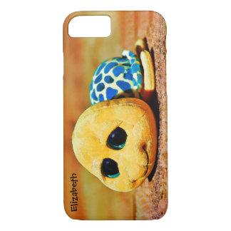 Dessin de jouet de tortue bourré par bleu jaune coque iPhone 7