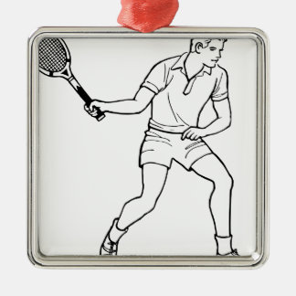 Dessin de joueur de tennis ornement carré argenté