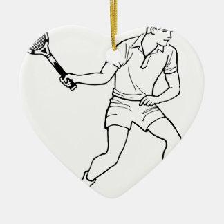 Dessin de joueur de tennis ornement cœur en céramique