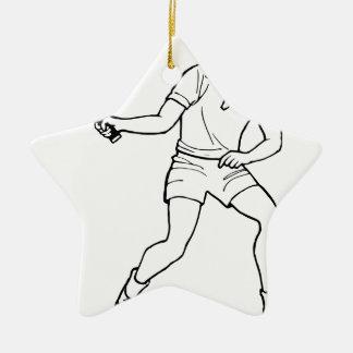 Dessin de joueur de tennis ornement étoile en céramique