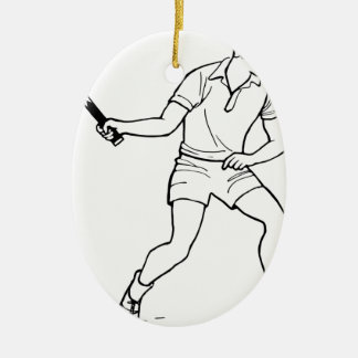 Dessin de joueur de tennis ornement ovale en céramique