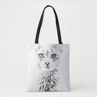 Dessin de l'art animal de chat blanc sur le sac