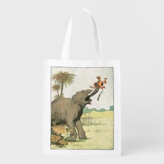 Dessin de livre d'histoire d'éléphant sac réutilisable d'épcierie