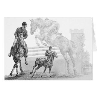 Dessin de montage de cheval de pullover par le carte de vœux