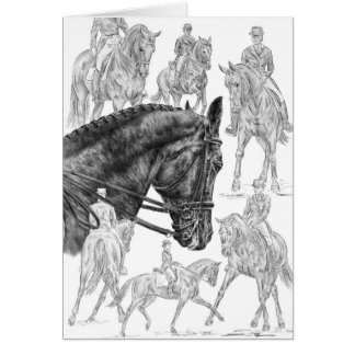 Dessin de montage de chevaux de dressage par le carte de vœux