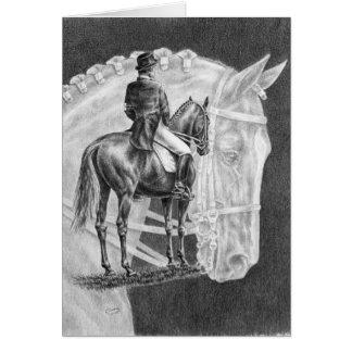 Dessin de montage de chevaux de dressage par le cy carte de vœux