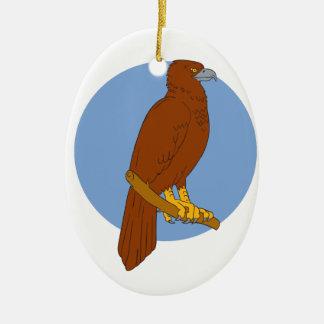Dessin de perche d'Eagle Cale-coupé la queue par Ornement Ovale En Céramique