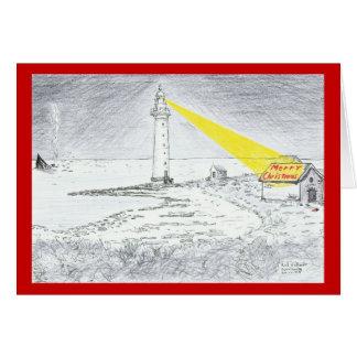 Dessin de phare de Joyeux Noël Carte De Vœux