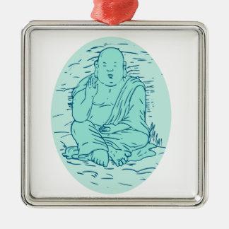 Dessin de pose de Gautama Buddha Lotus Ornement Carré Argenté