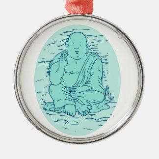 Dessin de pose de Gautama Buddha Lotus Ornement Rond Argenté