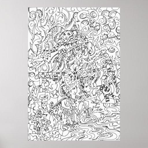 Dessin de style de gravure sur bois posters zazzle - Style de dessin ...