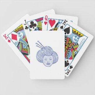 Dessin de tête de fille de geisha jeux de cartes