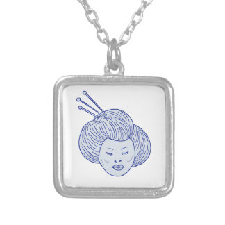 Dessin de tête de fille de geisha pendentif carré