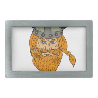Dessin de tête de guerrier de Viking de Norseman Boucle De Ceinture Rectangulaire