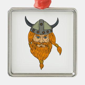 Dessin de tête de guerrier de Viking de Norseman Ornement Carré Argenté