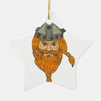 Dessin de tête de guerrier de Viking de Norseman Ornement Étoile En Céramique