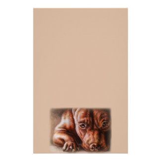 Dessin de visage de pitbull de Brown de chien de Papeterie
