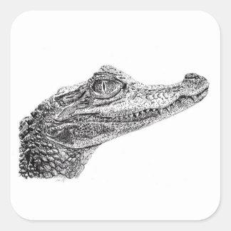 Dessin d'encre de crocodile de bébé sticker carré