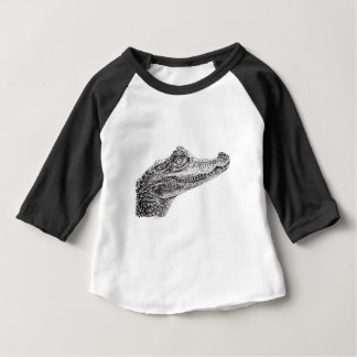 Dessin d'encre de crocodile de bébé t-shirt pour bébé