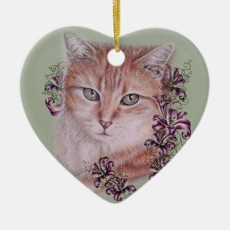 Dessin des fleurs oranges de chat tigré et de lis ornement cœur en céramique