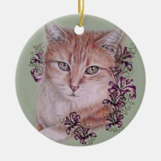 Dessin des fleurs oranges de chat tigré et de lis ornement rond en céramique