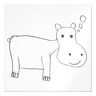 Dessin d'hippopotame en noir et blanc carte magnétique