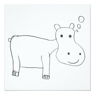 Dessin d'hippopotame en noir et blanc carton d'invitation  13,33 cm