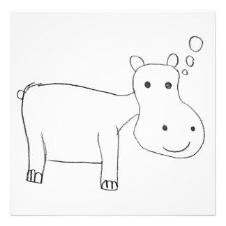 Dessin d'hippopotame en noir et blanc impression photo