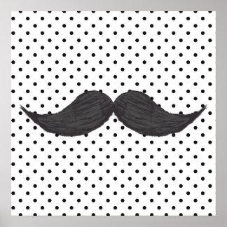 Dessin drôle de moustache et pois noir affiche